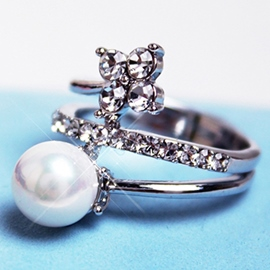Ericdress Sparkling Pearl Zircon Ring