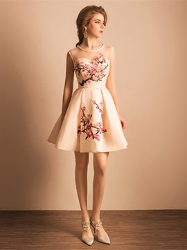 Ericdress a-line Scoop Stickerei Mini Homecoming Kleid