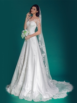 Ericdress A Line Applique Half Sleeve Wedding Dress