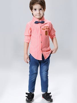Ericdress Stripe Bow Decorated Shirt & Jean Korean Boys Suit