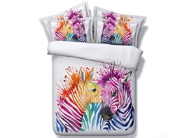 Vivilinen 3D Colorful Zebra Couple Printed 4-Piece White Bedding Sets/Duvet Covers