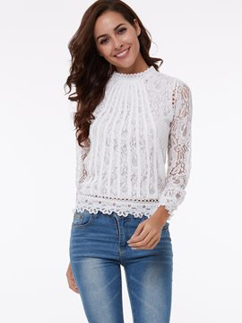 Ericdress Slim Casual Lace Blouse