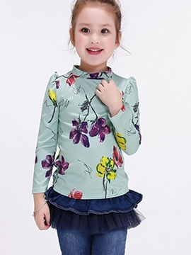 Ericdress Stand Collar Pleated Sleeve Patchwork Plant Print Girls Tops