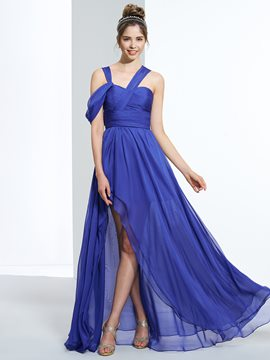 Ericdress A-Line Straps Pleats Split-Front Asymmetry Prom Dress