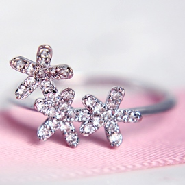 Ericdress Lovely Flowers Zircon Ring