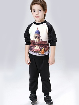 Ericdress Architecture Printed Color Block Patchwork Two-Piece Boys Outfits