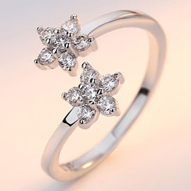 Ericdress Double Flowers Rhinestone Ring