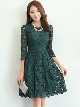 Ericdress Three-Quarter Sleeve Solid Color Round Neck Lace Dress