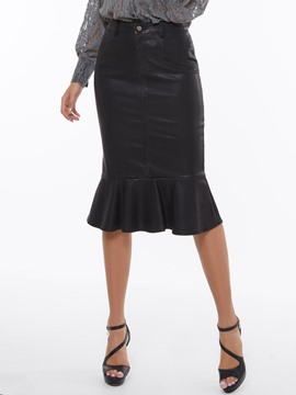 Ericdress PU Frill Column Skirt