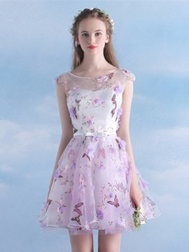 Ericdress A-Line Scoop Cap Sleeves Bowknot Sashes Short Homecoming Dress