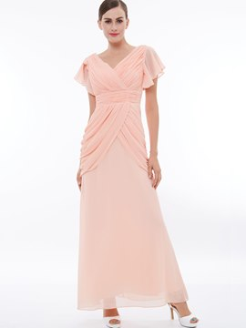 Ericdress A Line Pleats Chiffon Ruffle Sleeve Prom Dress
