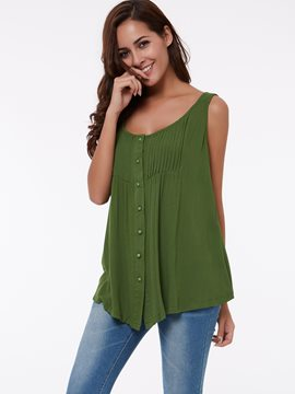 Ericdress Slim Pleated Plain T-Shirt
