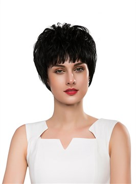 Ericdress Unique Short Straight Capless Human Hair Wig 10 Inches