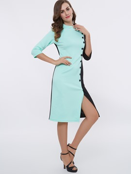 Ericdress Color Block Long Sleeves Bodycon Dress