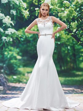 Ericdress Appliques Beaded Mermaid Wedding Dress