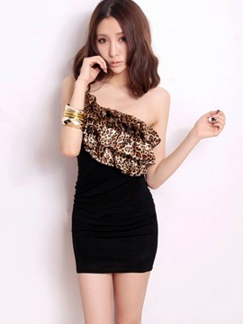 Ericdress One Shoulder Leopard Patchwork Sexy Slim Clubwear