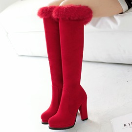 Ericdress Charming Furry Chunky Heel Knee High Boots
