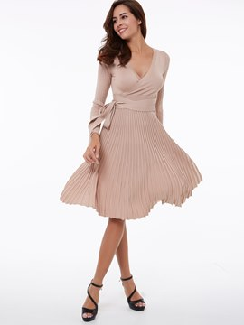 Ericdress Plain V-Neck Lace-Up Pleated Casual Dress