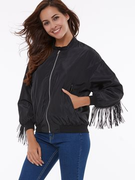Ericdress Solid Color Loose Tassel Jacket