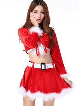 Ericdress Long Sleeve Lace-Up Short Skirt Santa Cosplay Christmas Costume