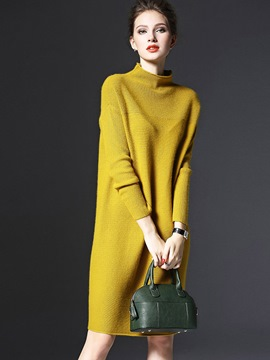 Ericdress Plain Stand Collar Loose Sweater Dress