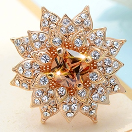 Ericdress Sparking Gold Flower Rhinestone Ring