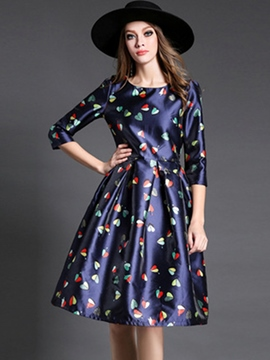 Ericdress Print Pleated Three-Quarter Sleeve A Line Dress