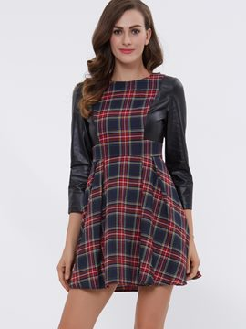 Ericdress Plaid U-Neck Nine Points Sleeves A Line Dress