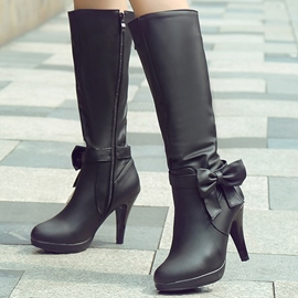Ericdress Bowknots PU Knee High Boots