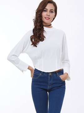 Ericdress Turtle Neck Zipper Asymmetric Blouse
