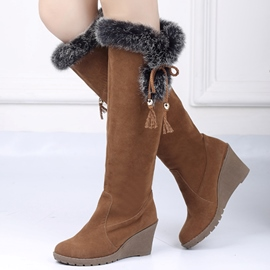 Ericdress Cute Fur Tassels Wedge Knee High Boots