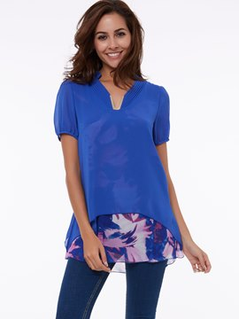 Ericdress Printed Chiffon Loose Blouse