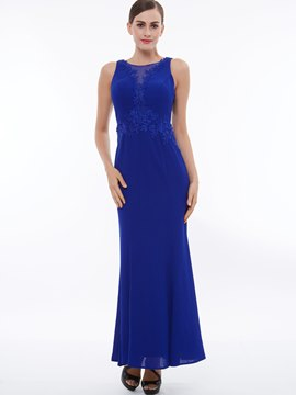 Ericdress Sheath Scoop Neckline Applique Chiffon Evening Party Dress