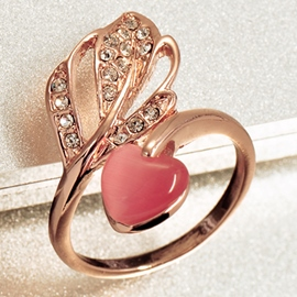 Ericdress Sweetheart & Leaf Rose Gold Ring