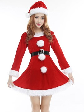 Ericdress Long Sleeve Belt Santa Cosplay Christmas Costume