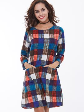 Ericdress Plaid Pocket A-Line Round Neck Casual Dress
