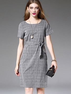 Ericdress Plaid Lace-Up Short Sleeve Casual Dress