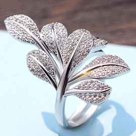 Ericdress 925 Silver Rhinestone Flower Ring
