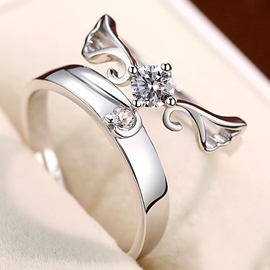 Ericdress Concise 925 Silver Lovers' Rings