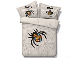 3D Spider Web Printed 4-Piece Bedding Sets/Duvet Covers