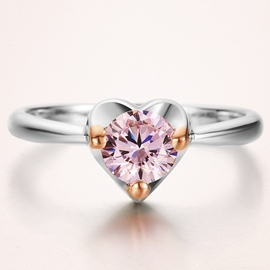 Ericdress Sweetheart Pink Diamond Ring