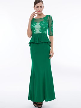 Ericdress Mermaid Half Sleeve Applique Chiffon Evening Dress