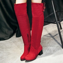 Ericdress Suede Buckles Square Heel Knee High Boots
