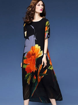 Ericdress Flower Print A-Line Short Sleeve Maxi Dress