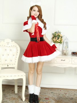 Ericdress Patchwork Fur Hem with Belt Santa Cosplay Christmas Costume