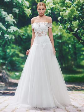 Ericdress Sexy Off The Shoulder Short Sleeves A Line Wedding Dress