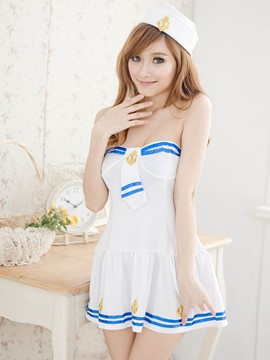 Ericdress Stripe Strapless Sexy Sailor Cosplay Costume