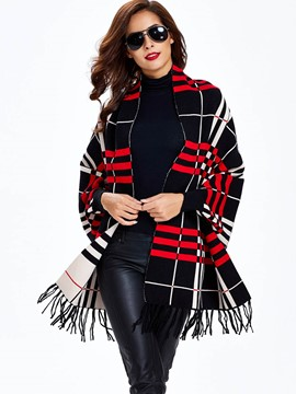 Ericdress Color Block Plaid Tassel Knitwear