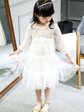 Ericdress Mesh Elastic Embroidery Girls Dress