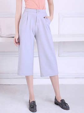 Ericdress Solid Color Seven Points Pants
